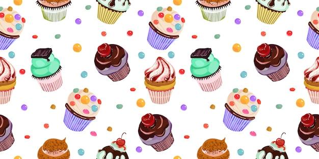 おいしいカップケーキのシームレスパターン