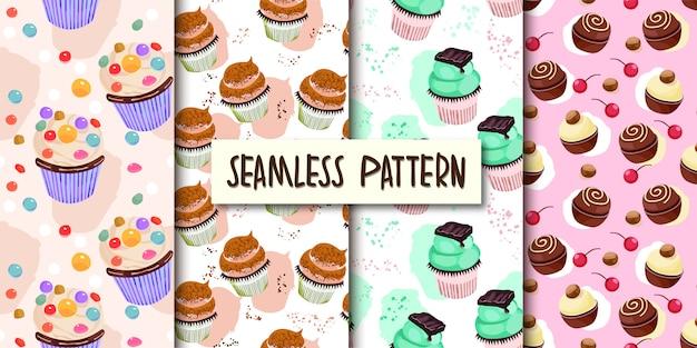 カップケーキのシームレスパターンのセット