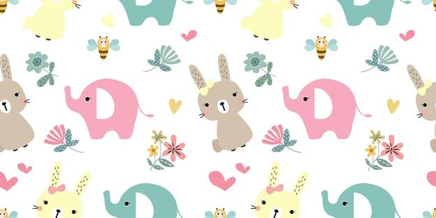 シームレスパターンのかわいい動物イラスト