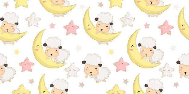 かわいい赤ちゃん羊と月のシームレスパターン
