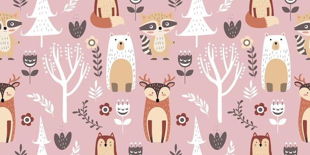 気まぐれな森のシームレスパターン