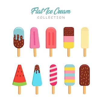 フラットスタイルのアイスクリームコレクション