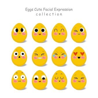 スクラップブッキングのためのおかしいとかわいい卵の顔の文字
