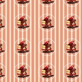 甘いチョコレートケーキパターンデザイン