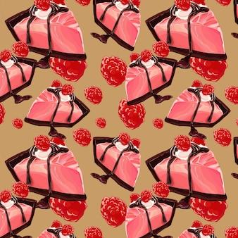 甘いベリーとチョコレートケーキのシームレスパターン設計
