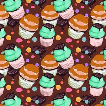 甘いカップケーキのシームレスパターン設計