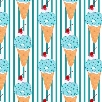 青い色の甘いアイスクリームパターンデザイン