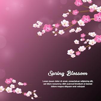 春の花の花の背景デザイン、パープル