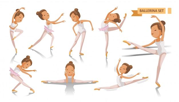 バレリーナのバレエ。美しい少女バレリーナはセットをポーズします。多くの港を踊る。古典的なバレエアートの美しさ。全身の若い女の子