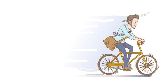男性はサイクリングしています。男性はサイクリングしています。実業家乗馬自転車。手描きのスタイル。