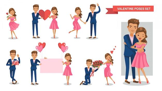 カップル文字姿勢セット。恋愛中。バレンタイン・デー