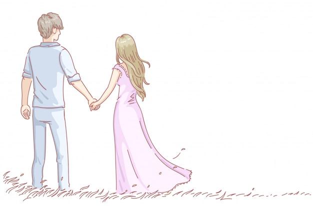 ロマンチックなデートを持っている愛の恋人のカップル。男と女の背面図。バレンタイン・デー。