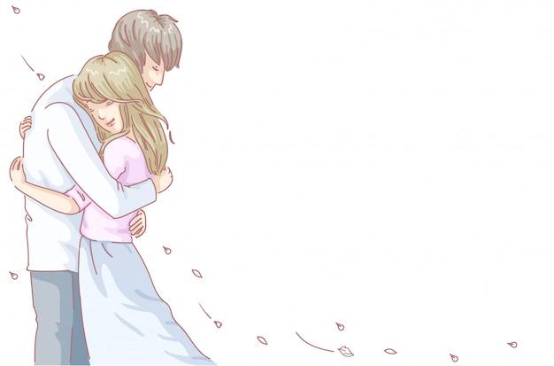 恋人たちは抱擁します。ロマンチックなデートを持つ愛のカップル。ベクトル落書き手描きスタイル。バレンタイン・デー