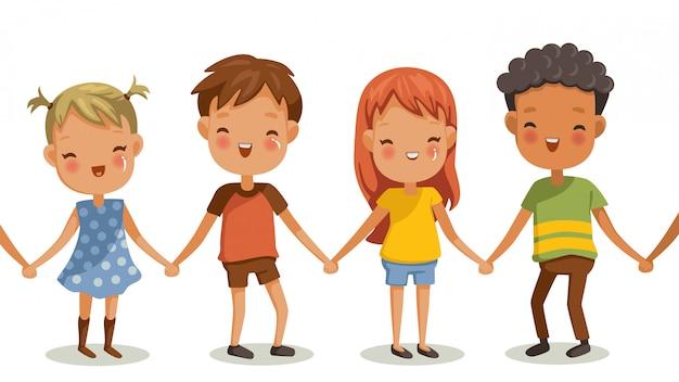 Девочки и мальчики держатся за руки. жесты и эмоции счастья.