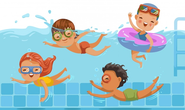 Детское плавание мальчики и девочки в купальных костюмах