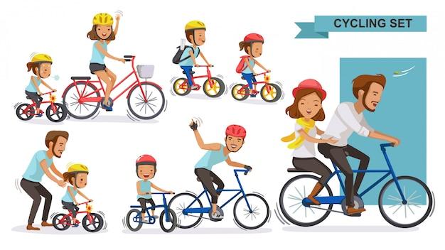 サイクリングカップルセット。一緒に自転車に乗って幸せな家族。親、父権、母性、