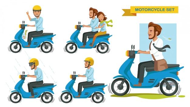 Езда на мотоцикле установлена. человек жестами управляет многими мотоциклами. пальцы вверх. пара катается на мотоцикле. вождение под дождем. езжай безопасно, носи шлем.