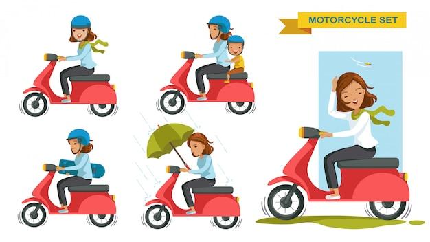 Мотоцикл женщина езда мотоцикл различные жесты набор. мультипликационный персонаж.