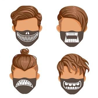Модная маска установлена. коллекция клыков призраков или демонов. мода для мужчин черное и белое. хэллоуин мода