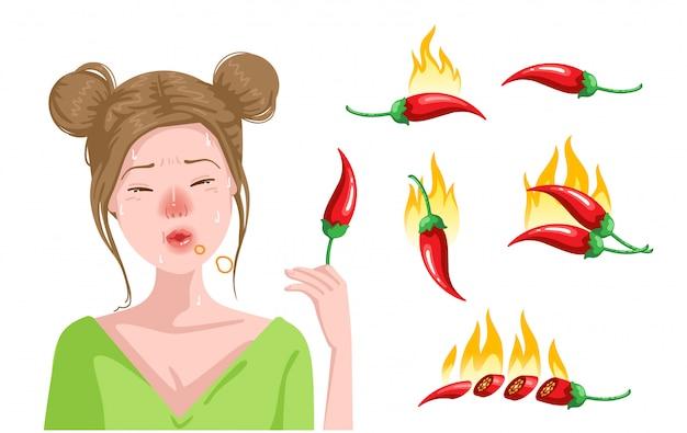 かわいい十代の女の子はチリを食べています