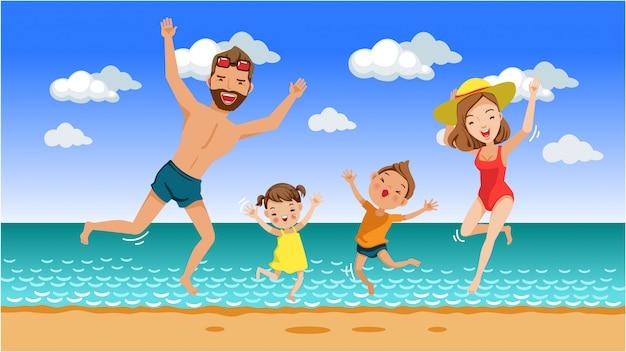 家族一緒にビーチでジャンプ