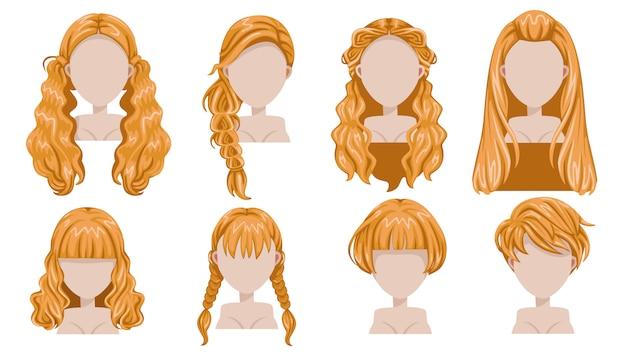 品揃えのための女性現代ファッションのブロンドの髪。長い髪、短い髪、巻き毛のトレンディな散髪アイコンを設定。