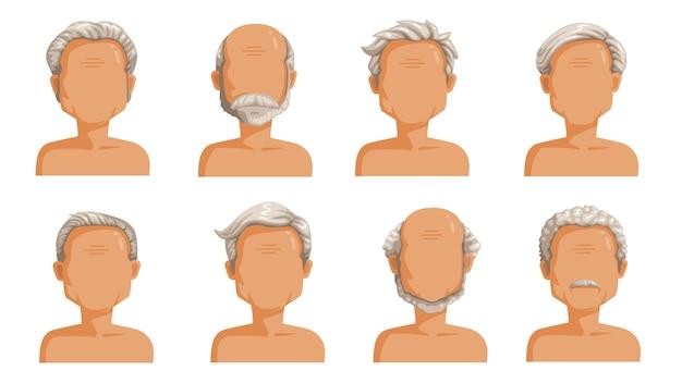 老人の髪の毛。男性漫画のヘアスタイルの白髪セット。ひげと老人のひげ。おしゃれなお洒落なタイプのコレクション