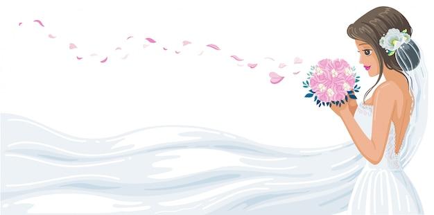 花嫁の美しい完璧なスタイル。ピンクのバラの花びらを吹いて白いブライダルガウン。