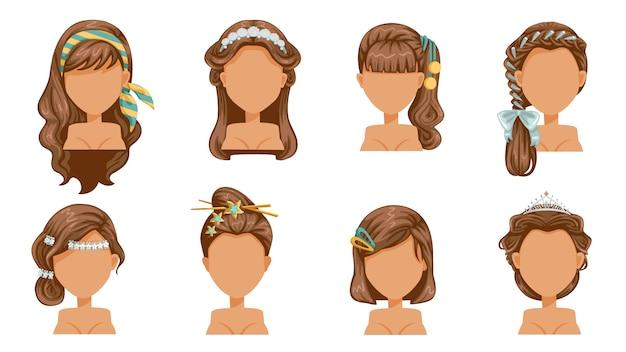 ヘアアクセサリー、ヘアピン、クラウン、ヘアピン、ヘアカット、美しいヘアスタイル。品揃えのための現代的なファッション。ロング、ショート、カーリーサロンの流行のヘアカット。