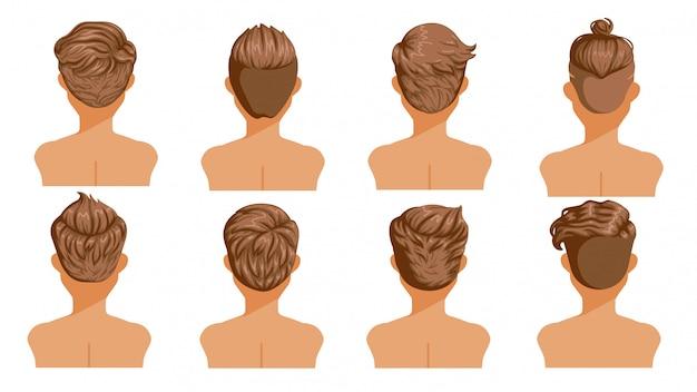男性の髪の背面図。男性漫画ヘアスタイルのセットです。おしゃれなおしゃれなタイプのコレクション。