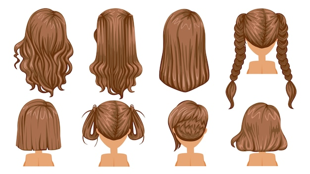 Прическа волос женщины. вид сзади современная мода на ассортимент.