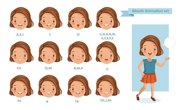 Рот девушка анимация. коллекция синхронизации губ для анимации.