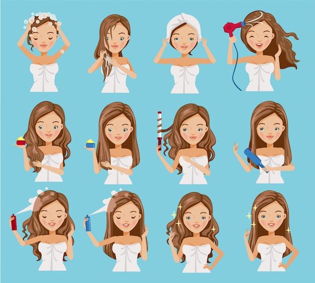 女性のヘアケアセット。