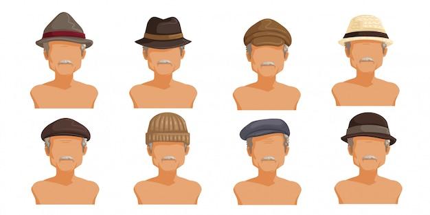 Пожилой мужчина шляпа. коллекция мужской головы.