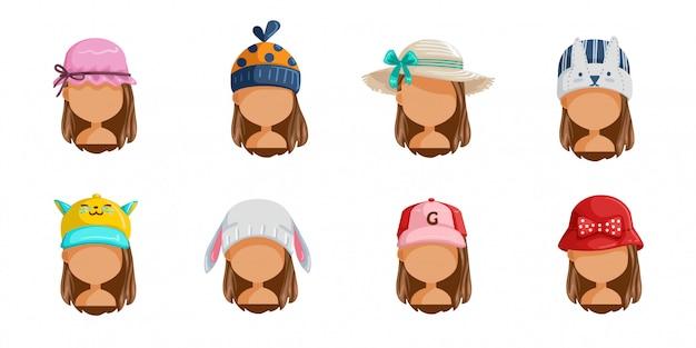 小さな女の子の帽子セット。女性の顔のコレクション。ヘアスタイルの異なる子供のユーザー写真。