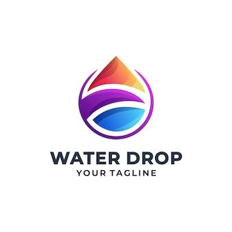 水滴のカラフルなロゴデザイン