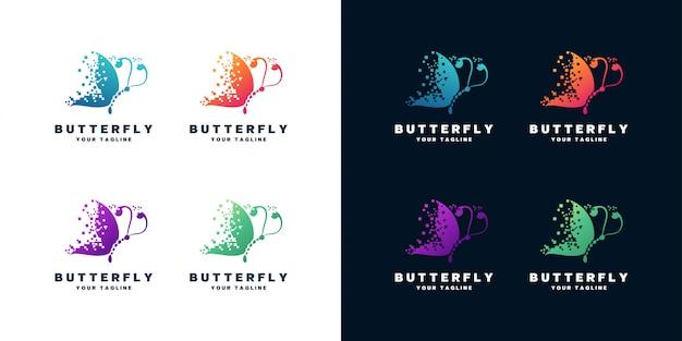 蝶のロゴデザインセットのセット