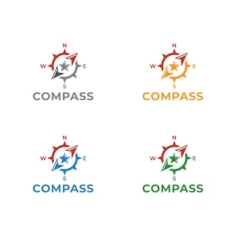 コンパスのロゴテンプレートベクトルイラストデザイン