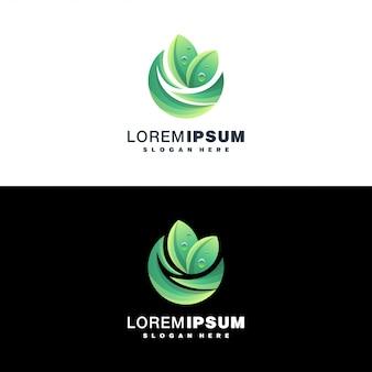 カラフルな葉のロゴ