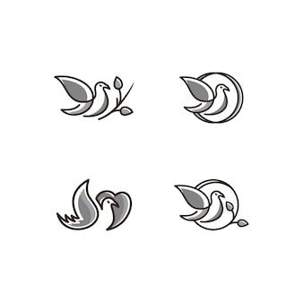 鳥のアイコンのロゴアイコンラインアート灰色