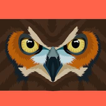 多角形の幾何学的ベクトルにフクロウの顔