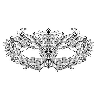 Марди гра редактируемый эскиз темное искусство