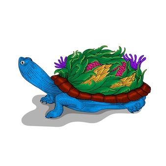 Красочный орнамент рисованной черепаха