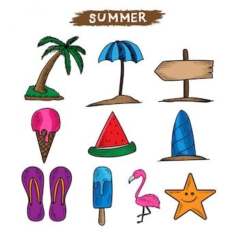 タトゥーとデザインの夏の時間イラスト