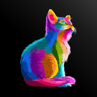 Красочный кот поп-арт портрет плакаты оформление