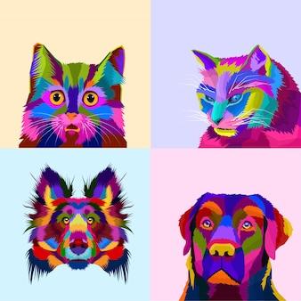 カラフルな動物セット犬と猫のポップアートスタイル