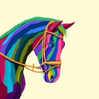 Красочная лошадь креативное произведение искусства в стиле поп-арт