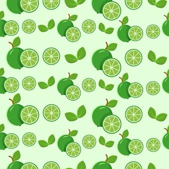 Бесшовный фон из зеленого лимона и листьев
