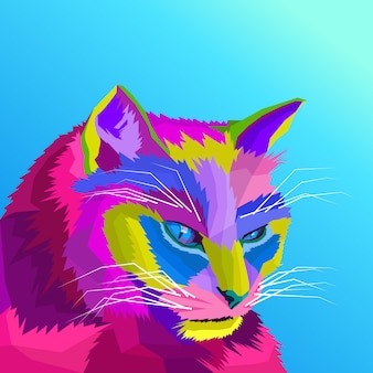 Красочный кот поп-арт вектор