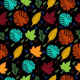 カラフルなシームレスパターンの熱帯の花